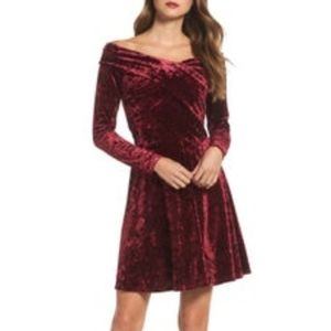 Chelsea 28  Velvet Off-Shoulder A-Line Dress